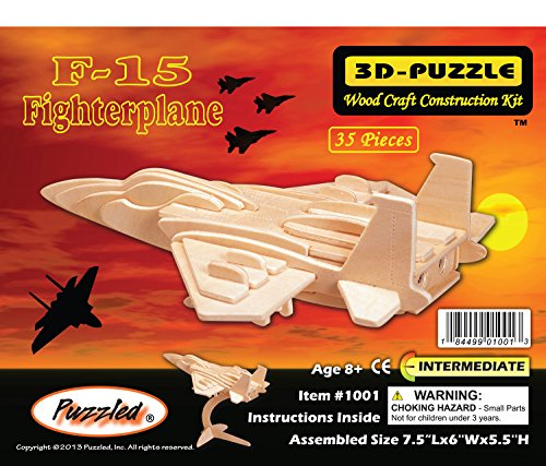 Puzzled F15 Fighterplane Woodcraft Construction Kit (Woodcraft Kit Construction)