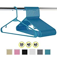 Neaterize Plastic Clothes Hangers| Heavy Duty Durable Coat and Clothes Hangers | Vibrant Colors Adult Hangers | Lightweight Space Saving Laundry Hangers | 20, 40, 60 Available