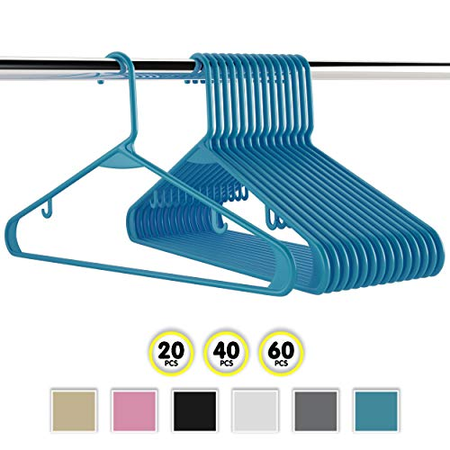 Neaterize Plastic Clothes Hangers| Heavy Duty Durable Coat and Clothes Hangers | Vibrant Colors Adult Hangers | Lightweight Space Saving Laundry Hangers | 20, 40, 60 Available (20 Pack - Blue) ()