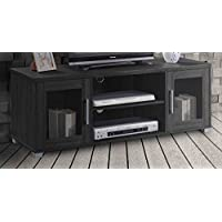 Hodedah TV Stand with Two Transparent Doors for Cabinet Storage & One Shelf, Black