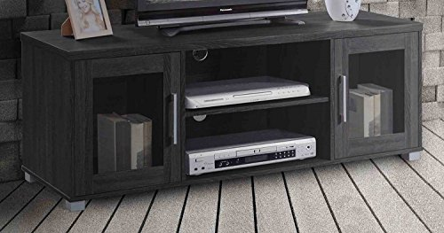 Hodedah TV Stand with Two Transparent Doors for Cabinet Storage & One Shelf, Black -  HITV107