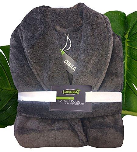 - Cariloha Ultra Plush Bamboo Bathrobe by Unisex Bathrobe - Moisture Wicking and Odor Resistant (S/M, Graphite)