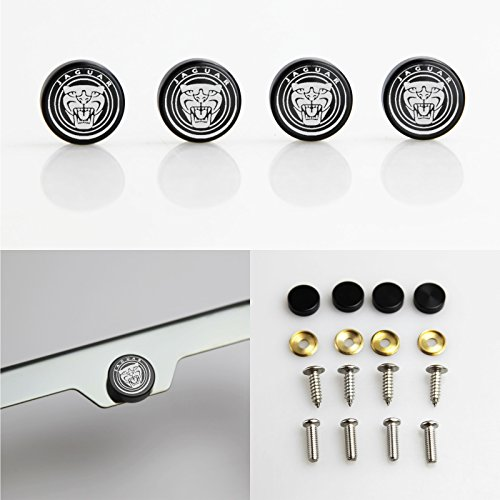 Set of 4 Jaguar Logo Laser Engraved Black Aluminum Metal Cap Stainless Steel Screw for Car License Plate Frame by Circle Cool