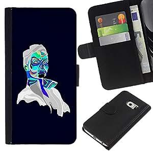EJOY---La carpeta del tirón la caja de cuero de alta calidad de la PU Caso protector / Samsung Galaxy S6 EDGE / --Retrato psicodélico