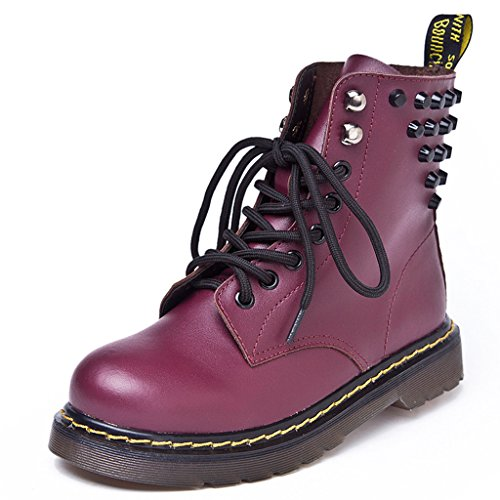 Optimale Kvinners Blonder-up Kamp Toe Boot Martin Boots Red