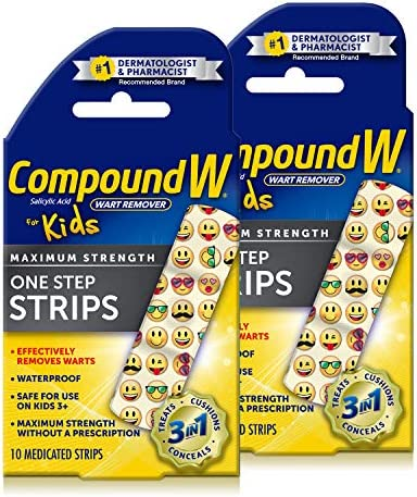 Compound W One Step Medicated Strips For Kids | Wart Removal | 10 Strips | 2 Pack 10 Count (Pack of two) 20 Count