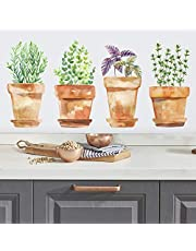 Watercolor Potted Herbs Peel and Stick Wall Decals
