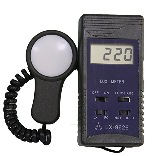 BYQTEC LX-1262V Digital Portable Lux Meter with LCD Display Separate Light Sensor Illuminance Measurement with Multi-Parameter Lux and FC