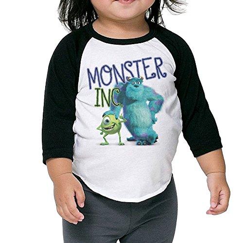 Monster Inc Monster Raglan T Shirt Toddler Organic Cotton Long Sleeve 3/4 Kids Cutie (Googly Bear Monsters Inc)