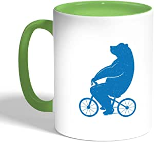 Bear driving a bicycle Printed Coffee Mug, Green Color (Ceramic)