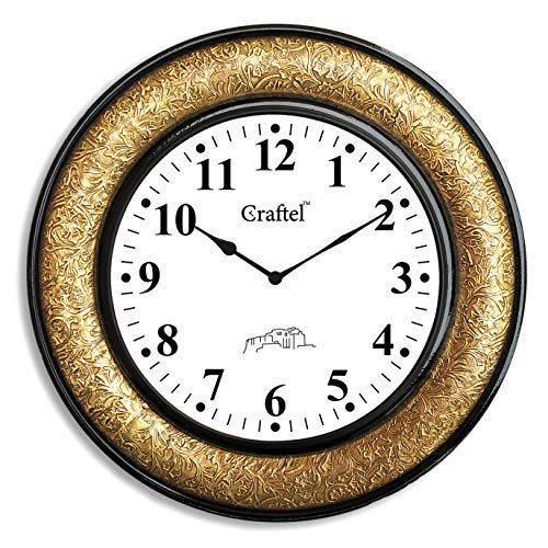 11.)Craftel, Brass Wall Clock with Dome Glass (Gold)