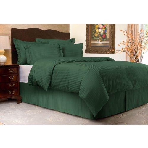 Shop Bedding Sateen Stripe 300TC Duvet Cover Set, Twin, Hunter