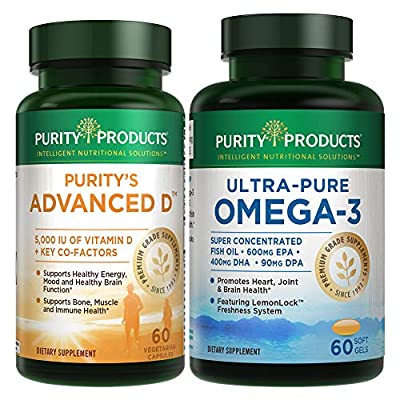 KIT - Dr. Cannell's Advanced D + Omega-3 Ultra-Pure Fish Oil from Purity Products - Advanced D is Packed with Vitamin D, Vitamin K2, Zinc, Magnesium Citrate, Boron and Taurine