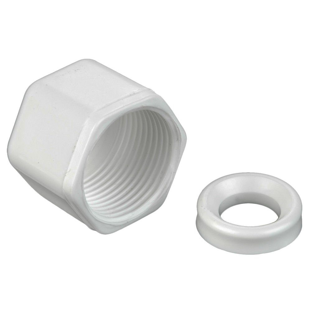 White Pack of 10 Polypropylene Tube Nut and Spacer Parker W4NS-pk10 Compression Style Plastic Fitting Fast-Tite Tube Pack of 10 1//4 1//4