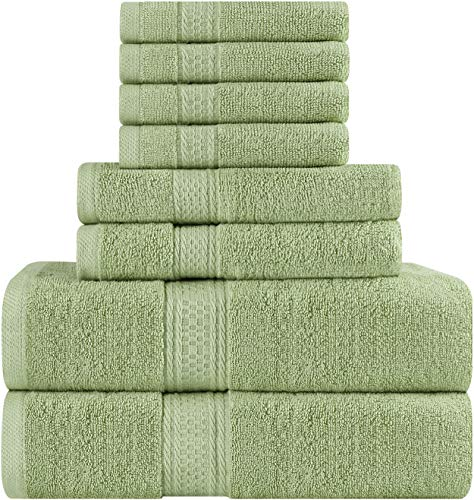 utopia towels premium 8 piece towel set sage green 2 bath import it all. Black Bedroom Furniture Sets. Home Design Ideas