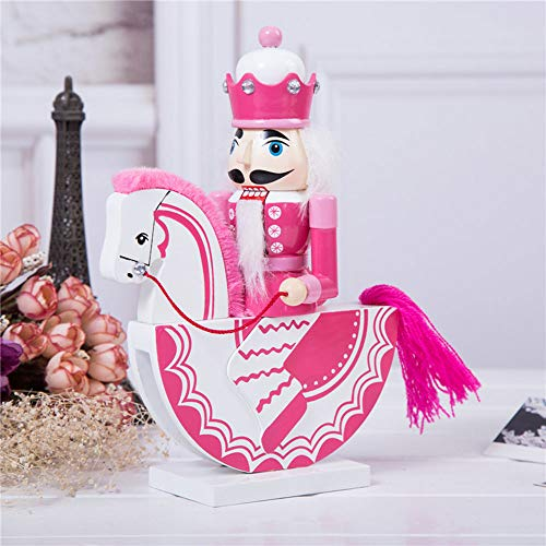 gelvs Adorable Pink Color Nutcracker on The Horse Wooden Walnut Soldier Figurine for Nutcracker Collector Christmas Festival Decoration