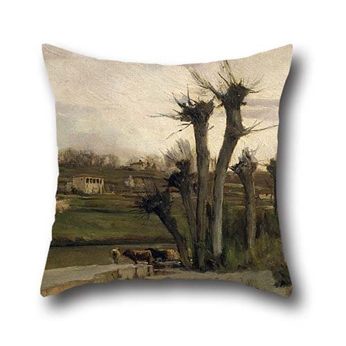 Pillowcase Of Oil Painting Joaquim Vayreda - The Beginning Of Spring,for Boy Friend,boys,play Room,pub,kitchen,husband 20 X 20 Inches / 50 By 50 Cm(double Sides)
