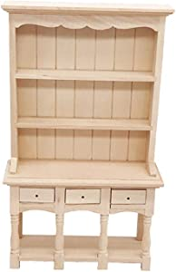 Hoolick 1/12 Mini Dollhouse Furniture Tiny Exquisite Wood Bookcase Cabinet Model Living Room Accessories
