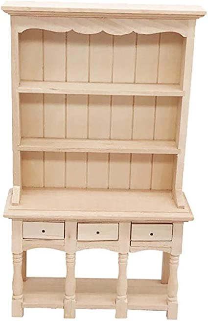 White PIXNOR Dollhouse Miniature Furniture 1:12 Wooden Carbinet Bookcase