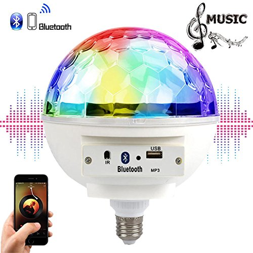 Fashionwu E27 85-265V LED 6W Music LED Blub, Colourful Bluetooth LED Music Rhythm Blub Light for Party by Fashionwu