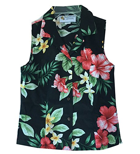 Alohawears Clothing Company Womens Hibiscus Floral Hawaiian Aloha Sleeveless Blouse Shirt