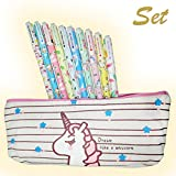 Set 10 pcs Unicorn Flamingo Gel Ink Pens + Plus Cute Unicorn Pencil case, fine point 0.5mm pen – Unicorn gifts for girls, Unicorn Favors Party Supplies for girls – By Cutieyou
