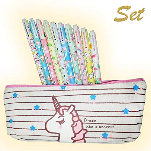 Cutieyou Unicorn Flamingo Gel Ink Pens 10 pcs + Unicorn Pencil case, fine Point 0.5mm Pen - Unicorn gift for girls (Best Pens To Gift)