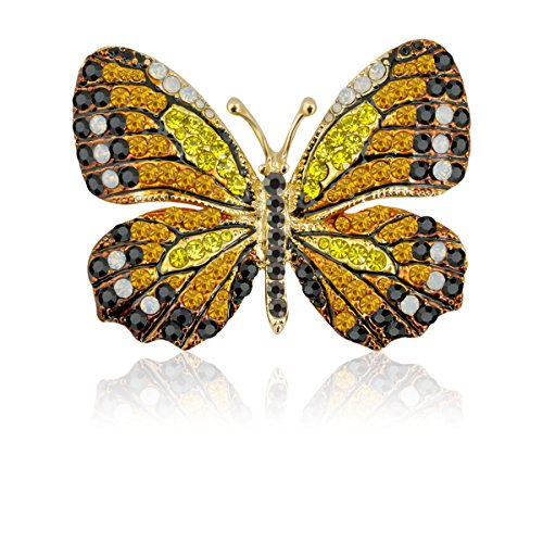 TAGOO Elegant Winged Butterfly Vintage Colorful Rhinestone Brooch Pin in Crystal for Women&Girls (Yellow&Black)