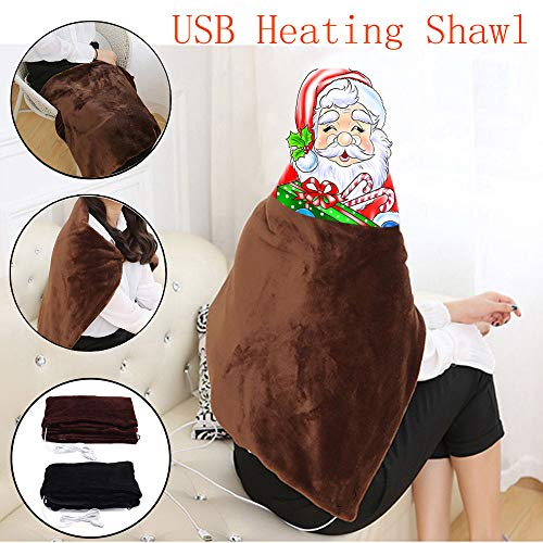 NEARTIME USB Soft Heated Shawl Winter Electric Warming Neck Shoulder Heating Blanket Pad