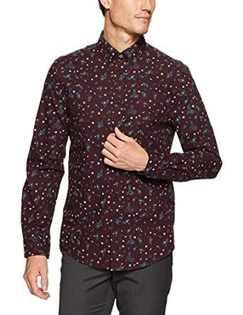 Ben Sherman Men's Long Sleeve Marl Paisley Shirt, Wine, S