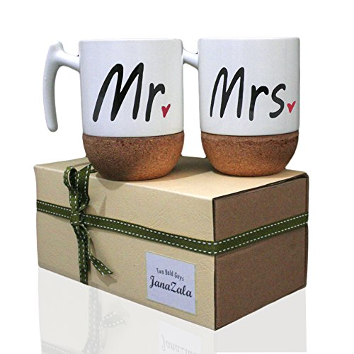 Janazala Mr and Mrs Ceramic Coffee Mugs Set of 2 - Novelty Mr and Mrs Coffee Tea Cups 9.5 oz With Cork Bottom. Comes In A Gift Box, For Parents, Anniversary, Mom and Dad, Couples