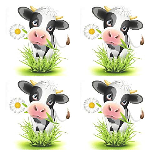 Jiayangzi Cute Holstein Cow Green Grass Placemats Non-Slip Heat Resistant Table Placemat Dining Washable Kitchen Table Mats Restaurants Place Mats Set of 4 (Grass Place Mats)