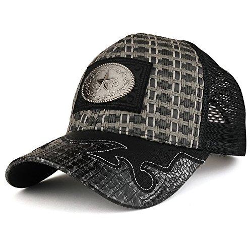 Trendy Apparel Shop Straw Design Metallic Texas Lone Star Logo Trucker Mesh Baseball Cap