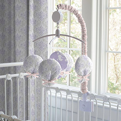 Carousel Lilac and Silver Gray Damask Mobile