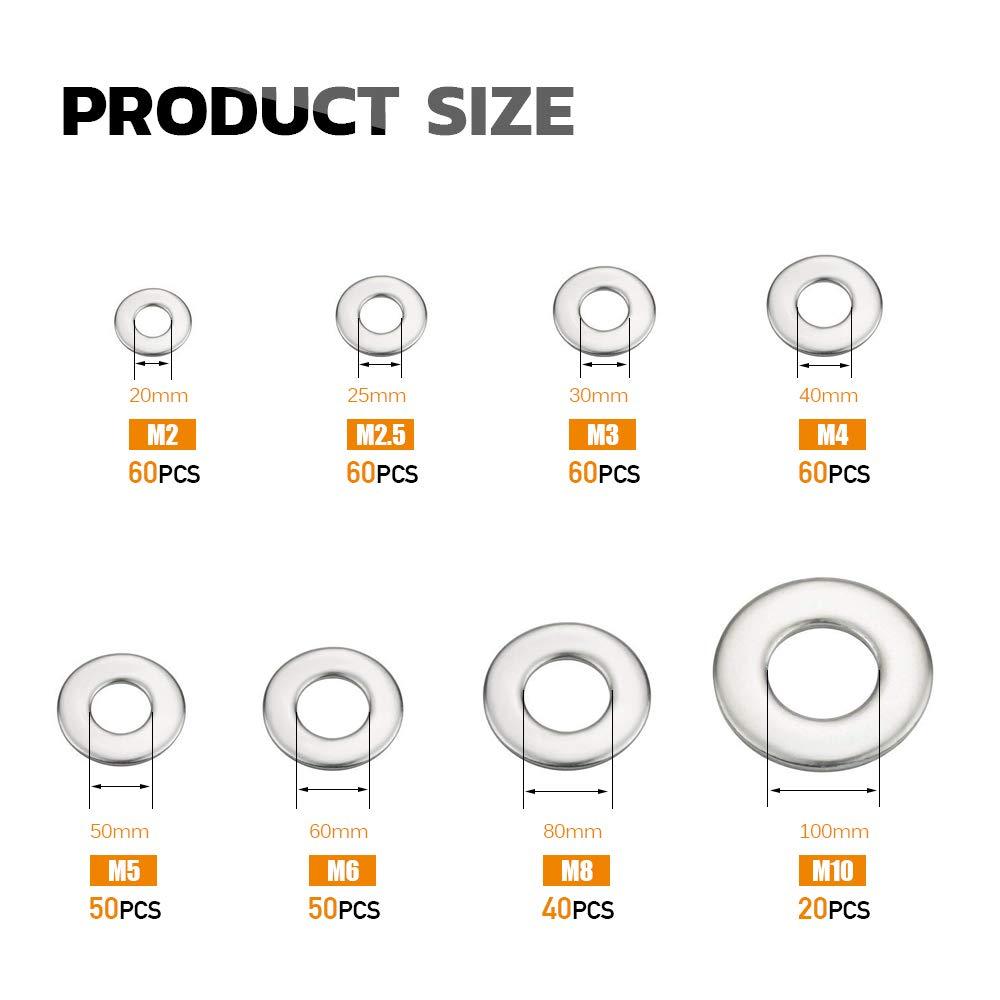 Flat Washers Stainless Steel M2 M2.5 M3 M4 M5 M6 M8 M10 Hardware Gasket Assortment Set 400Pcs Toolkitworld