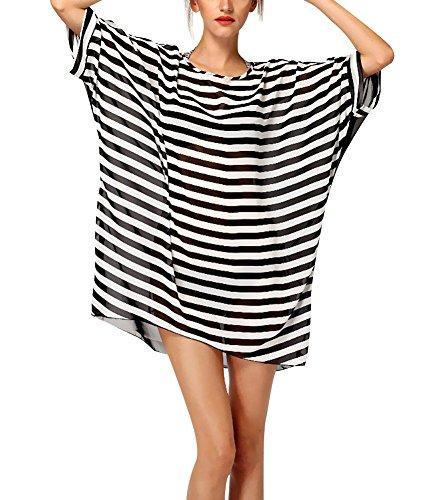 Meelino Women Baggy Loose O-neck Striped T-shirt Oversize Beach Swimsuit Bikini Cover Up Beachwear Pullover (One size, Black) (Striped Cover Up)