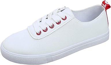 Zapatillas de Running para Mujer,Primavera Verano Blanco Zapatos Mujeres Zapatos de Cuero Plano Junta Casual Zapatos Zapatillas: Amazon.es: Ropa y accesorios