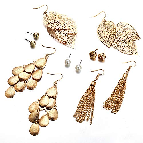 (Bohemian Earrings Set for Women Long Tassel Gold Leaves Multilayer Sequins Drop Pearl)