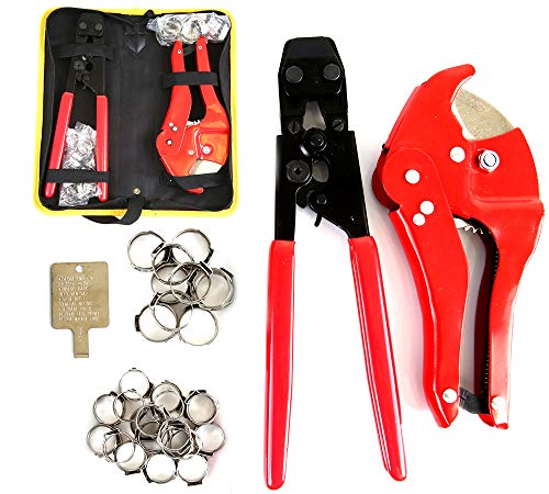 Pex Crimping Clamp Cinch Tool and Pipe Hose Cutter, Pex Crimper Pipe Fitting Tool Kit for Stainless Steel Clamps Sizes from 3/8