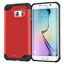 Galaxy S6 Edge Case - roocase [Exec TOUGH] - Hybrid PC / TPU [Corner Protection] Armor Case Cover for Samsung Galaxy S6 Edge (2015), Carmine Red