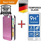 iPhone 5 & 5S [4.0] Pack [Slim Aluminum] Case + [Tempered Glass] Screen Protector [Dual Layer] Cover [Shock Resistant] Brushed Alloy [Absorbent Bumper] PVC [INO Metal] Skin [Motomo] Pink