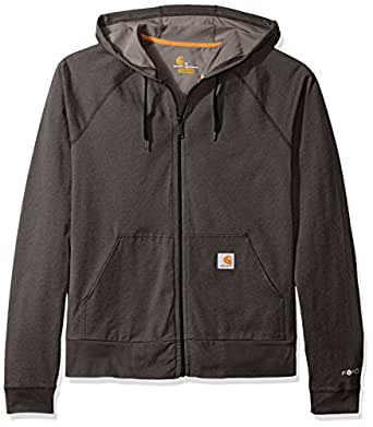 Carhartt Men's Force Cotton Delmont Zip Front Hoodie, Carbon Heather, Medium