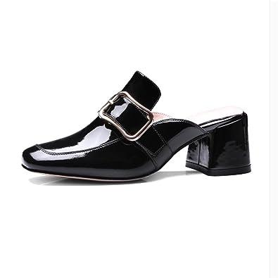 Reine Farbe Größe, Schuh, Lack, hochhackige Schuhe, Schuhe und Veranstaltungsräume Frauen, schwarz, 40