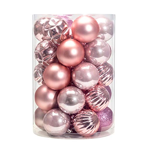 AMS Christmas Ball Ornaments Exquisite Colorful Balls Decorations Pendant Pack of 24pcs (40mm, Pink)