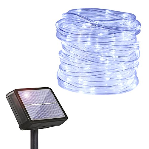 HAHOME Solar Powered String Light, 33Ft Clear PVC Rope 132 LEDs Starry String Lights,Fairy Lights Ambiance Lighting for Outdoor Gardens Homes,Cool White