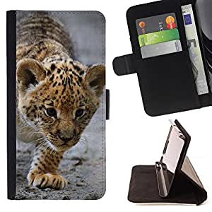 DEVIL CASE - FOR HTC Desire 820 - Baby Leopard Cub Mother Cute Puppy - Style PU Leather Case Wallet Flip Stand Flap Closure Cover