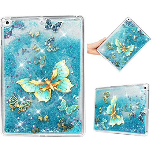 iPad 9.7 2018/2017, iPad Air 2, iPad Air Case, Glitter 3D Liquid Floating Bling Sparkle Girls Children 2 in 1 Soft TPU Silicone + PC Protective Shockproof Defender Bumper Cover Openwork Butterfly