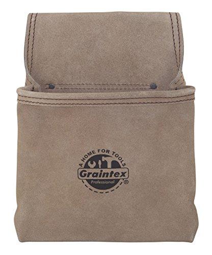 (Graintex SS2050 1 Pocket Heavy Duty Suede Leather Nail & Tool Pouch Wide Belt Tunnel Slot)