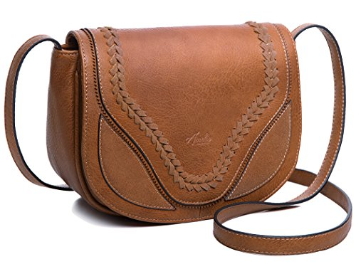AMELIE GALANTI Classy Cross Body Bag for Women Vintage Shoulder Saddle Bag with Flap Top Pu - Flap Bag Handbag