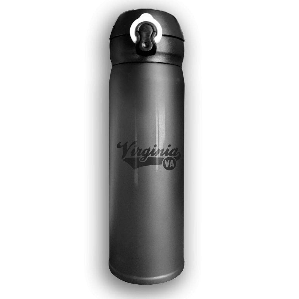 Adhone Custom Virginia VA Stainless Water Bottle, Sports Drinking Bottle/Travel Coffee Mug, Leak-Proof Vaccum Cup, with Bounce Cover,Black